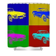 1962 Chevrolet Corvette Convertible Pop Art Shower Curtain