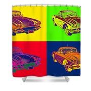 1962 Chevrolet Corvette Pop Art Shower Curtain