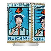 1962 Nursing Stamp Collage - Oakland Ca Postmark Shower Curtain