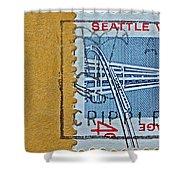 1962 Seattle World's Fair Stamp Shower Curtain