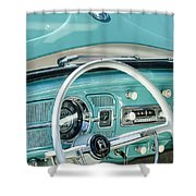 1962 Volkswagen Vw Beetle Cabriolet Steering Wheel Shower Curtain
