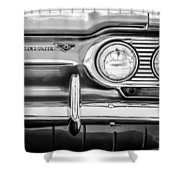 1963 Chevrolet Corvair Monza Spyder Headlight Emblem -0594bw Shower Curtain
