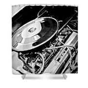 1963 Chevrolet Corvette Split Window Engine -147bw Shower Curtain