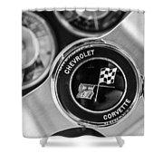 1963 Chevrolet Corvette Split Window Steering Wheel Emblem -170bw Shower Curtain