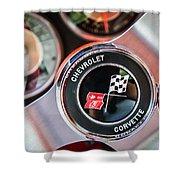 1963 Chevrolet Corvette Split Window Steering Wheel Emblem -170c Shower Curtain