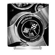 1963 Chevrolet Corvette Split Window Steering Wheel Emblem -309bw Shower Curtain