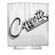 1963 Chevrolet Corvette Split Window - Sting Ray Emblem -248bw Shower Curtain