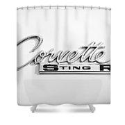 1963 Chevrolet Corvette Split Window - Sting Ray Emblem -252bw Shower Curtain