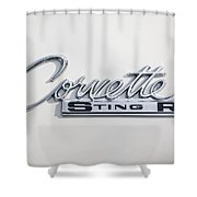 1963 Chevrolet Corvette Split Window - Sting Ray Emblem -252c Shower Curtain
