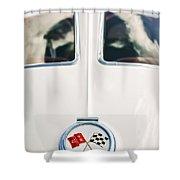 1963 Chevrolet Corvette Split Window Wheel Emblem -118c Shower Curtain