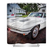 1963 Chevy Corvette Coupe Painted  Shower Curtain