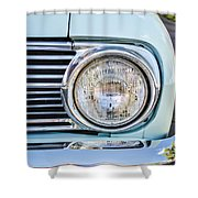 1963 Ford Falcon Futura Convertible Headlight - Hood Ornament Shower Curtain