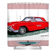 1963 Ford Thunderbird Shower Curtain by Jack Pumphrey