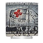 1963 Red Cross Stamp - San Francisco Postmark Shower Curtain