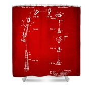 1963 Space Capsule Patent Red Shower Curtain