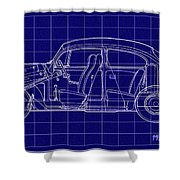 1963 Volkswagon Beetle Blueprint Shower Curtain
