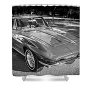 1964 Chevy Corvette Coupe Bw Shower Curtain
