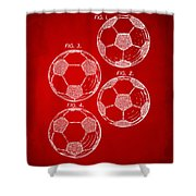 1964 Soccerball Patent Artwork - Red Shower Curtain by Nikki Marie Smith