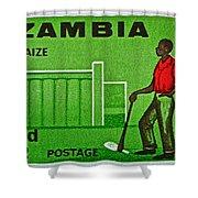 1964 Zambia Farmer Stamp Shower Curtain