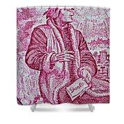 1965 Dante Anniversary Stamp Shower Curtain