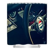 1965 Ford Gt 40 Steering Wheel Emblem Shower Curtain
