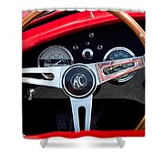 1965 Shelby Ac Cobra Roadster 289 Steering Wheel Emblem Shower Curtain
