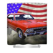 1966 Chevy Chevelle Ss 396 And United States Flag Shower Curtain