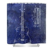 1966 Fender Acoustic Guitar Patent Drawing Blue Shower Curtain