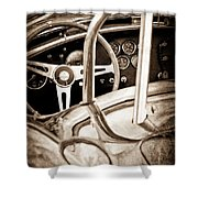 1966 Shelby 427 Cobra Steering Wheel Emblem Shower Curtain