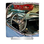 1967 Blue Corvette-interior And Wheel Shower Curtain