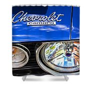 1967 Chevrolet Camaro Ss 350 Headlight - Hood Emblem  Shower Curtain