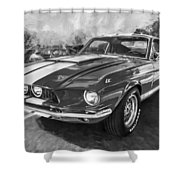 1967 Ford Shelby Mustang Gt500 Painted Bw Shower Curtain