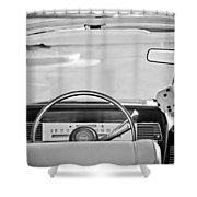 1967 Lincoln Continental Steering Wheel -014bw Shower Curtain