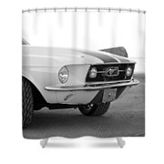 1967 Mustang Front In Black Shower Curtain