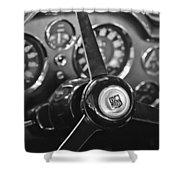 1968 Aston Martin Steering Wheel Emblem Shower Curtain