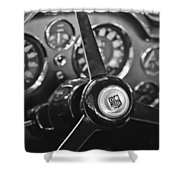 1968 Aston Martin Steering Wheel Emblem Shower Curtain