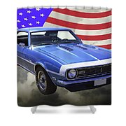 1968 Chevrolet Camaro 327 And United States Flag Shower Curtain