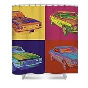 1968 Chevrolet Camaro 327 Muscle Car Pop Art Shower Curtain