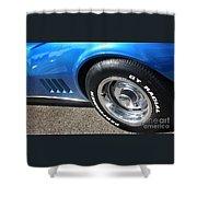 1968 Corvette Sting Ray - Blue - Side - 8923 Shower Curtain