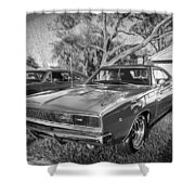 1968 Dodge Charger The Bullit Car Bw Shower Curtain