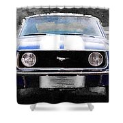 1968 Ford Mustang Front End Watercolor Shower Curtain