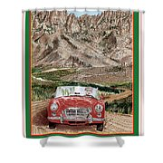 Mountain Rallying In A 1968 M G B  Shower Curtain