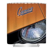 1969 Chevrolet Camaro Headlight Emblem Shower Curtain by Jill Reger