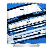 1969 Chevy Camaro Ss - Blue Negative Shower Curtain