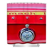 1969 Ford Mustang Mach 1 Rear Emblems Shower Curtain