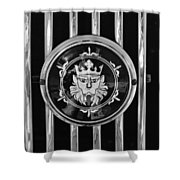 1969 Morgan Roadster Grille Emblem 3 Shower Curtain by Jill Reger