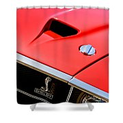 1969 Shelby Gt500 Convertible 428 Cobra Jet Hood - Grille Emblem Shower Curtain