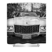 1970 Cadillac Coupe Deville Convertible Painted Bw Shower Curtain