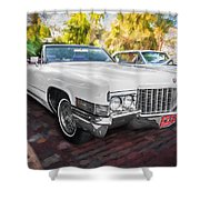 1970 Cadillac Coupe Deville Convertible Painted  Shower Curtain