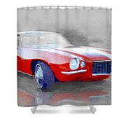1970 Chevy Camaro Watercolor Shower Curtain
